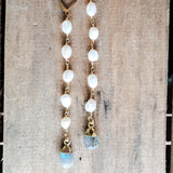 "4"" long freshwater pearl duster earrings with gemstone drops labradorite"