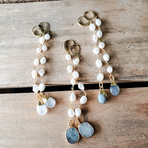 "4"" long freshwater pearl duster earrings with gemstone drops labradorite & moonstone"