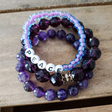 6mm Czech lilac purple beads word beads spell PEACE quality stretch bracelet