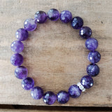 10mm amethyst purple gemstone beads stretch protection bracelet