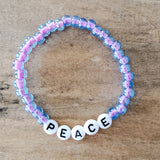 lilac purple Czech 6mm beads with letter beads spelling PEACE Message Bracelet
