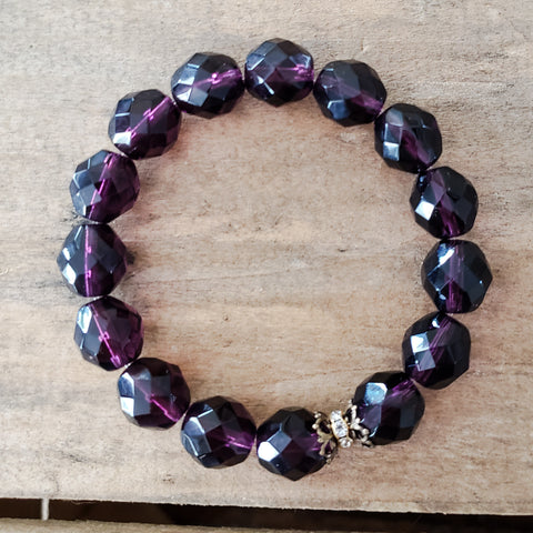 amethyst purple 12mm Czech beads with vintage details stretch protection bracelet