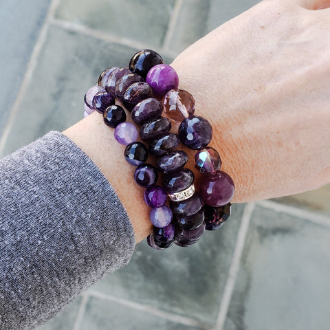 3 purple bead bracelets shown in various sized 8mm 12mm 6x12mm