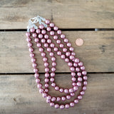 12mm signature triple layered dusty rose round glass pearl beads necklace