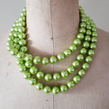 12mm triple layered bright lime round glass pearl beads necklace