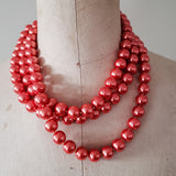 12mm triple layered hot oramge round glass pearl beads necklace