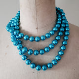 12mm triple layered bright teal round glass pearl beads necklace