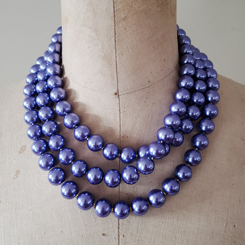 12mm triple layered deep iris round glass pearl beads necklace