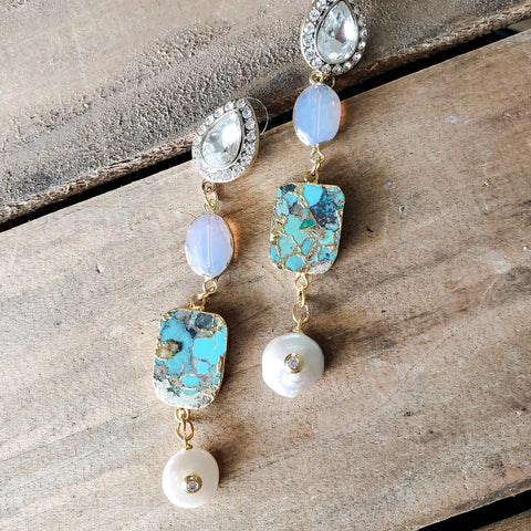 "rhinestone earring posts with real turquoise, quartz & freshwater pearls 3"" dangles"