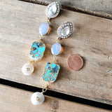 "rhinestone earring posts with real turquoise, quartz & freshwater pearls 3"" dusters"