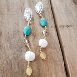 "rhinestone earring posts with real turquoise, Swarovski crystals, freshwater pearls, citrine 3"" dangles"