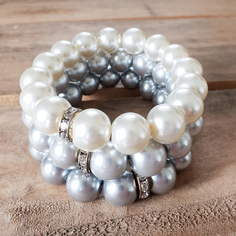 12mm glass pearl stretch bracelets white-ish, silver, pewter