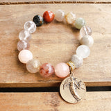 "12mm grapefruit quartz 1"" round brass vintage medal w Winged Angel quality stretch bracelet"