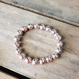 10mm rose' hematite gemstone beads quality stretch bracelet