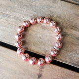 12mm rose' hematite gemstone beads quality stretch bracelet