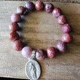 "12mm Portuguese agate beads 1"" St. Scholastica religious medal quality stretch bracelet"