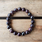 10mm garnet red gemstone beads stretch protection bracelet