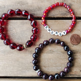 January garnet gemstone & color birthstone bracelets 10mm 12mm 6mm
