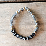 6mm gold silver tone beads word beads that spell out KINDNESS bracelet