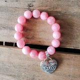 "10mm pink jade gemstones beads w 1"" heart shaped charm stamped with the word LOVE"