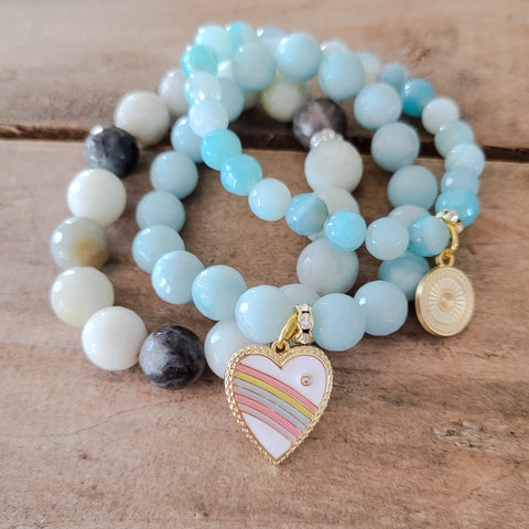 Aquamarine color quality stretch bracelets w charms