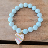 10mm sea blue agate w enamel rainbow heart charm