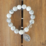 "protection bracelet by Marinella jewelry 12mm white howlite beads Czech prayer bead 1"" tall miraculous St. Mary medal"