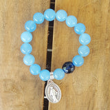 "protection bracelet by Marinella jewelry 12mm sky blue jade Czech prayer bead 1"" tall miraculous St. Mary medal"