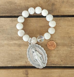 "protection bracelet by Marinella jewelry 14mm white crazy lace agate 14mm Czech prayer bead XL 2"" tall miraculous St. Mary medal"