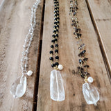 three 27' rosary chain crystal quartz freshwater pearl pendant necklaces