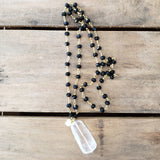 "27"" long jet brass rosary chain crystal quartz nugget freshwater pea;r pendant necklace"