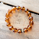 12mm Czech topaz color beads brass details bead bracelet Nov birthstone