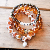 November Topaz birthstone crystal real pearl and gemstone bracelets
