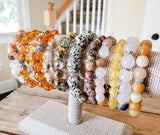 yellow, umber, rust, gold color gemstone bead bracelets