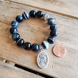 "12mm black striped agate beads 1"" oval religious medal bracelet"