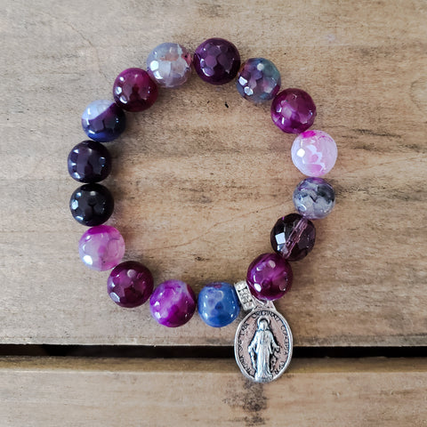 "12mm mermaid agate bead bracelet 1"" St. Mary pewter medal 12mm Czech prayer bead"