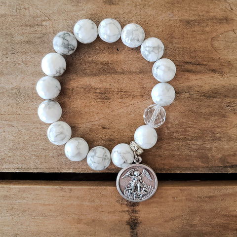 "12mm white howlite bead bracelet 1"" St. Michael Archangel pewter medal 12mm Czech prayer bead"