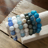 protection bracelets by Marinella jewelry powdery whites and blue teals collection