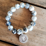 "12mm black and white crackle agate beads 1"" round religious medal bracelet"