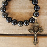 "12mm smooth black gold Obsidian stone beads w 2"" long brass pardon crucifix medal"