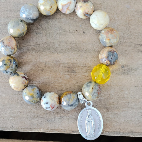 12mm crazy lace agate gemstone beads 1  yellow prayer bead Lady of Knock medal bracelet