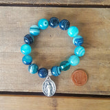 "protection bracelet by Marinella jewelry 12mm teal agate Czech prayer bead 1"" tall miraculous St. Mary medal"