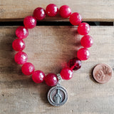 "deep red jade 12mm beads 1 prayer / mediation bead 1""round St. Nicholas medal bracelet"