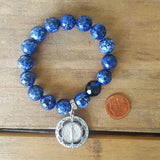 "protection bracelet 12mm blue jasper 1.5"" pewter our lady of grace medal"