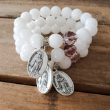 St. Peregrine medals white jade 12mm beads 1 lilac Czech crystal prayer bead