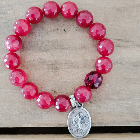 12mm red jade beads Czech prayer bead St. John of God medal