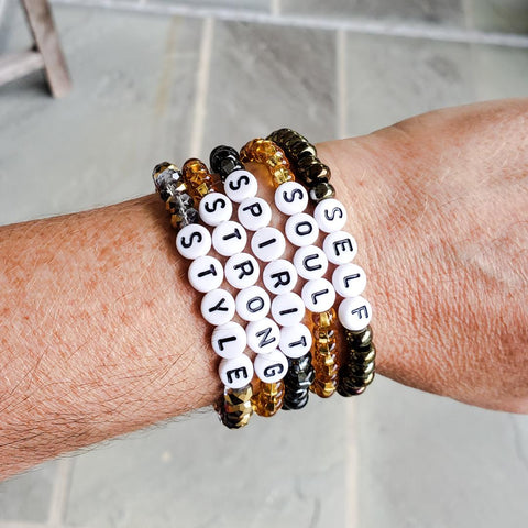 6mm 8mm inspiring words SELF SOUL STRONG SPIRIT STYLE Czech bead bracelets