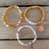 3 bracelets 8mm amber Czech 6mm shadow agate 6mm Czech and letter beads