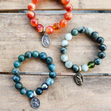 "12mm 14mm jade & quartz beads w prayer beads and 1"" religious medals bracelets"