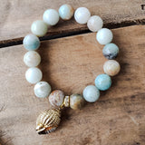 12mm Amazonite gemstone beads gold dipped sea shell charm stretch bracelets